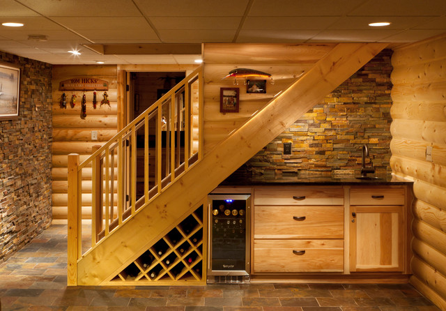 Eclectic-Basement-Idea-of-Wine-Cellar-and-Buttler-Center-Installed-under-the-Staircase-Decorated-with-Wood-and-Stone-Cladding