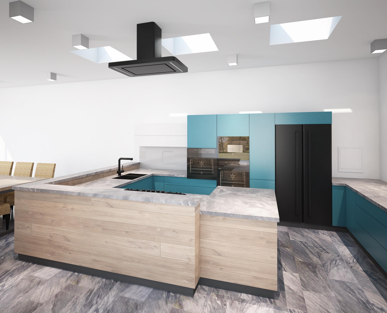 Projekt Kuchni W Kolorze Niebieskim Agata Bialy Architekt Krakow