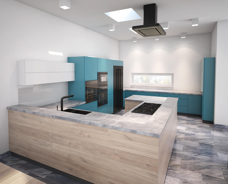 Projekt Kuchni W Kolorze Niebieskim Agata Biały